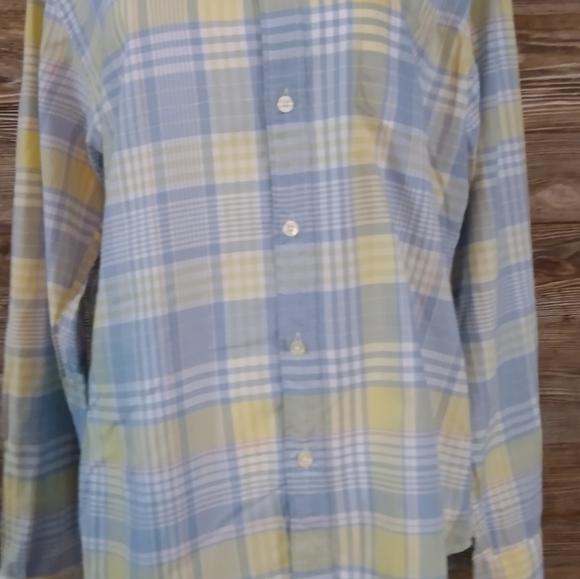 Mens J Crew vintage medium shirt check yellow blue